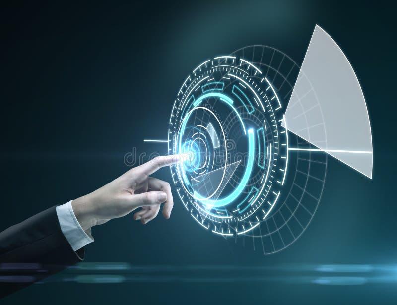 Рука нажимая интерфейс круга иллюстрация вектора