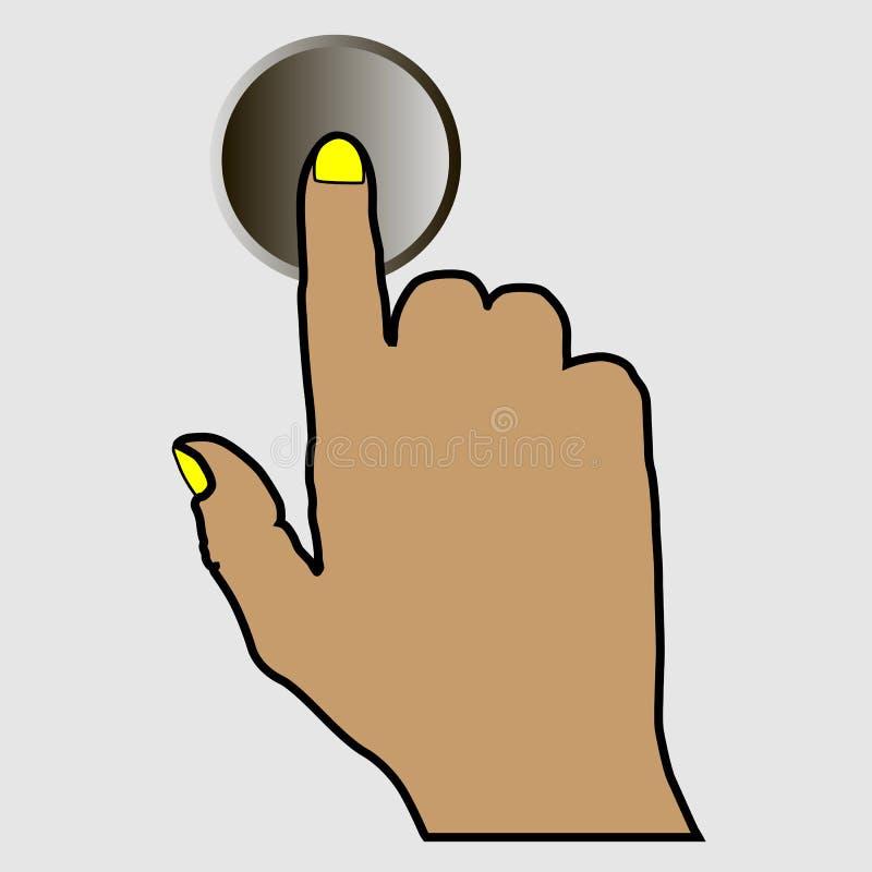 Рука нажимая круглую кнопку стоковые изображения rf