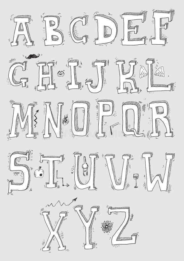 рука нарисованная алфавитом иллюстрация штока