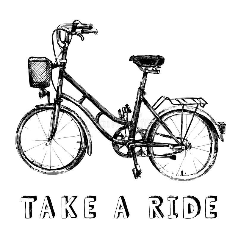 рука нарисованная велосипедом иллюстрация штока
