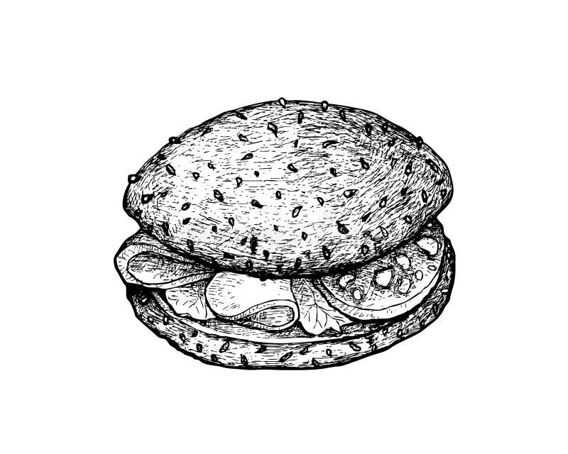 Рука нарисованная всего сэндвича хлеба зерна с ветчиной иллюстрация вектора
