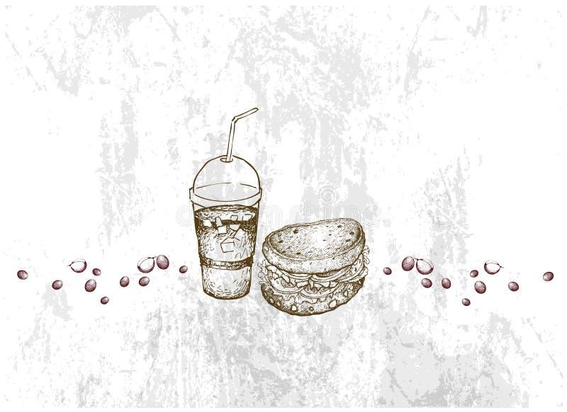 Рука нарисованная всего сэндвича хлеба зерна с кофе со льдом иллюстрация вектора