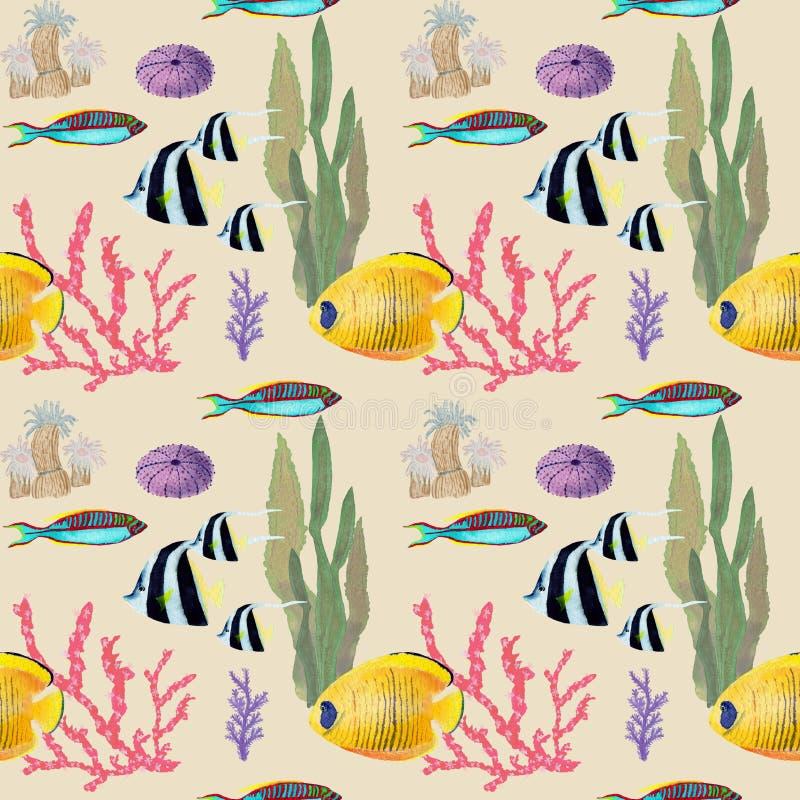 Рука нарисованная в элементе мира моря акварели естественном Картина рыб кораллового рифа безшовная на предпосылке biege иллюстрация штока