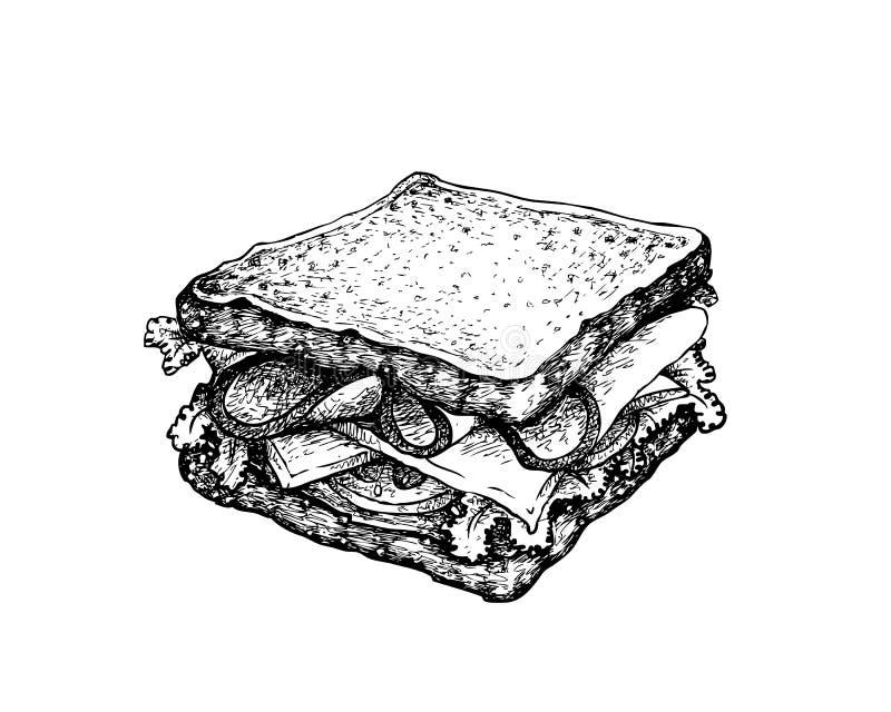 Рука нарисованная домодельного сэндвича с ветчиной на белой предпосылке бесплатная иллюстрация