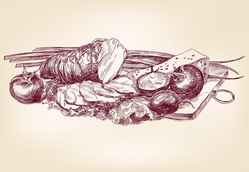 Рука нарисованная еды иллюстрация штока