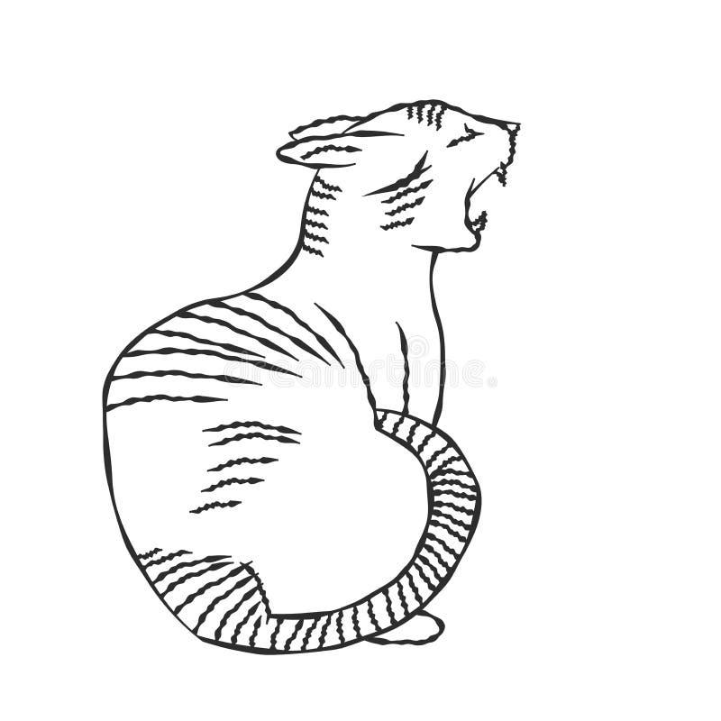 Рука нарисованная иллюстрации Кот-вектора иллюстрация вектора