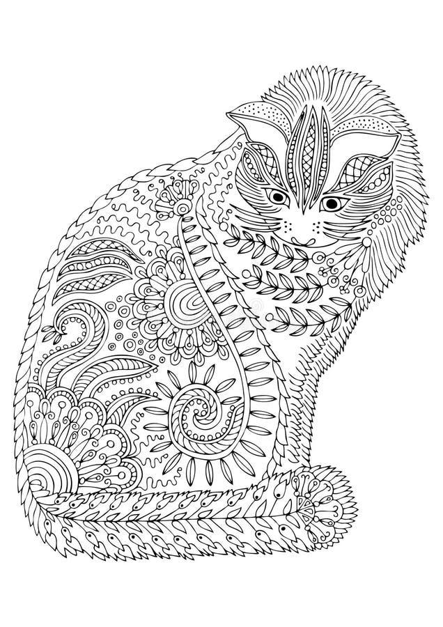 рука нарисованная котом Эскиз для страницы расцветки анти--стресса иллюстрация вектора