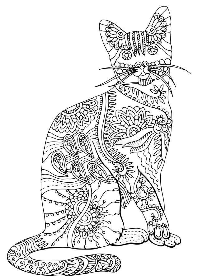 рука нарисованная котом Эскиз для страницы расцветки анти--стресса иллюстрация штока