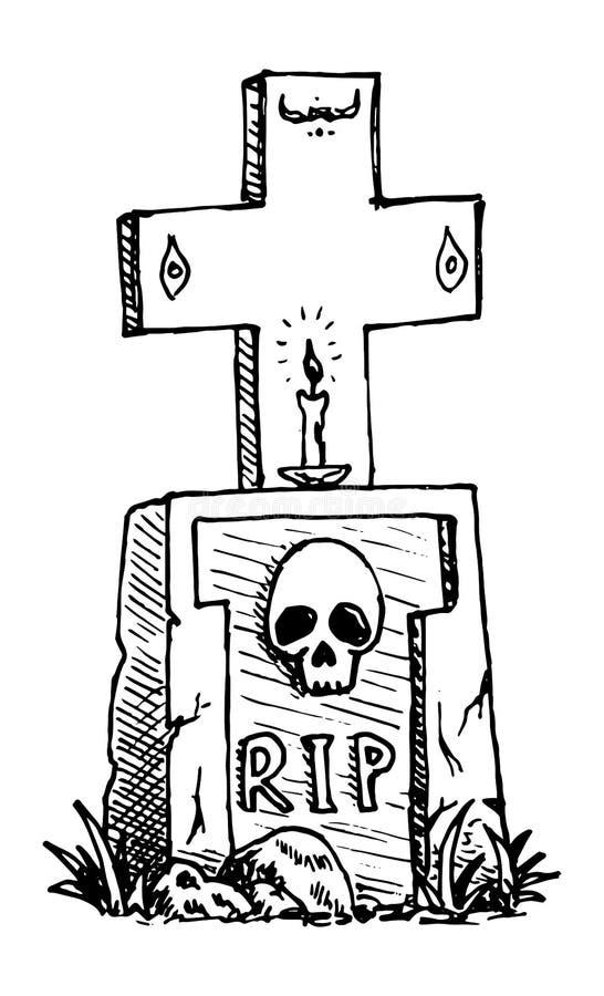 Рука Нарисованная могила с крестом, свеча, черепная дудель Значок стиля рисования Элемент декорации Изолировано на белом фоне Пло бесплатная иллюстрация