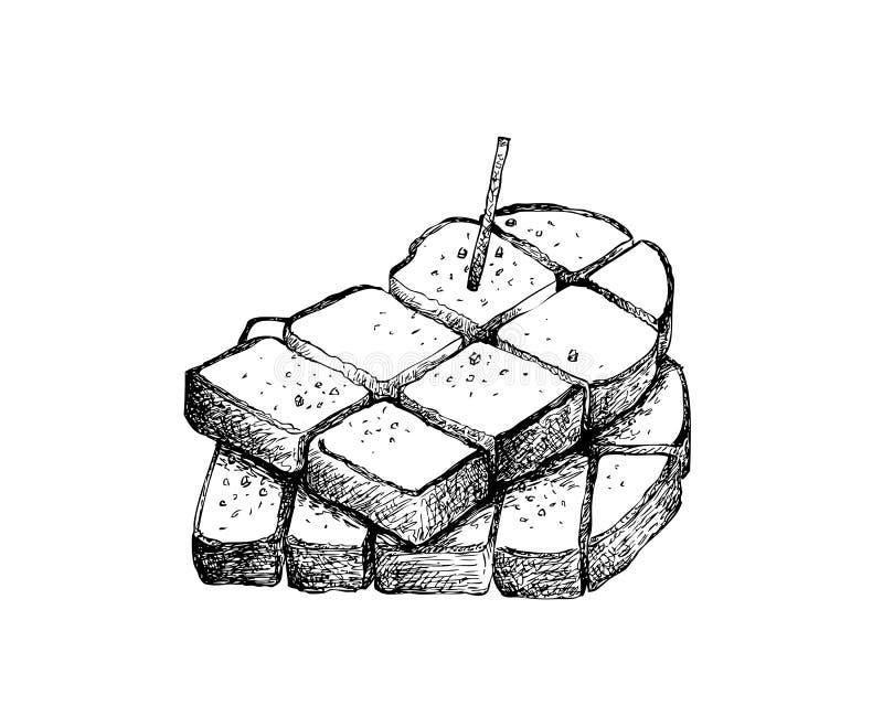 Рука нарисованная отрезанного тоста ломтя хлеба иллюстрация вектора