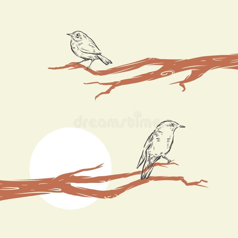 рука нарисованная птицами иллюстрация вектора