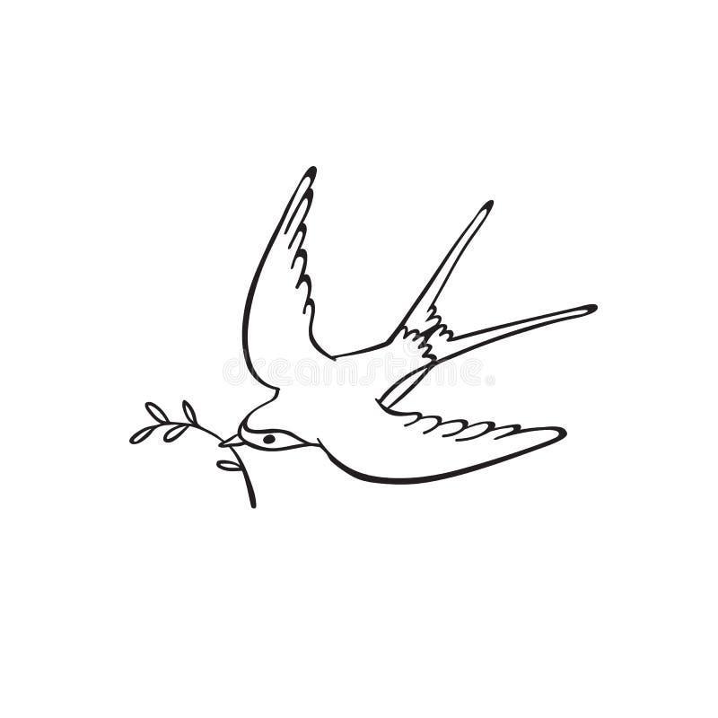 рука нарисованная птицей иллюстрация штока