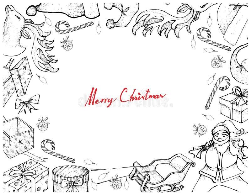 Рука нарисованная Санта Клауса с рамкой саней и подарков иллюстрация вектора