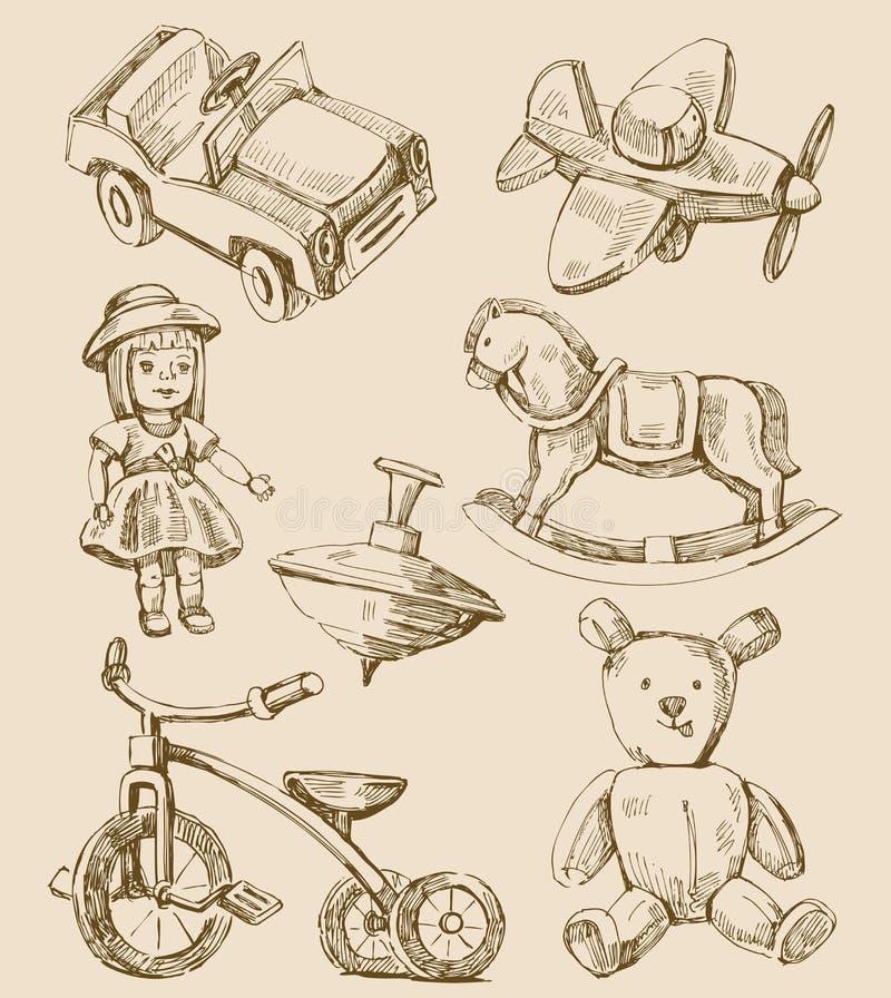 рука нарисованная собранием toys сбор винограда бесплатная иллюстрация