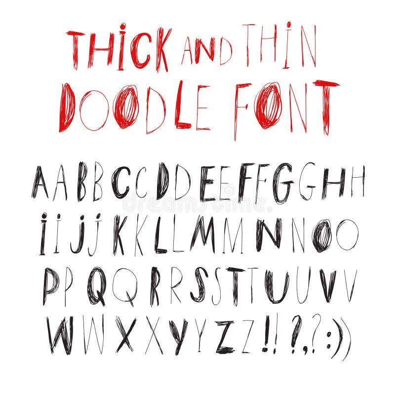 Рука нарисованная тонко и толщиной ballpen шрифт вектора иллюстрация вектора