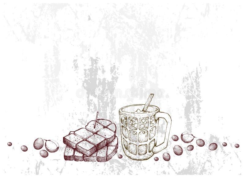 Рука нарисованная тоста и кофе со льдом хлеба иллюстрация вектора