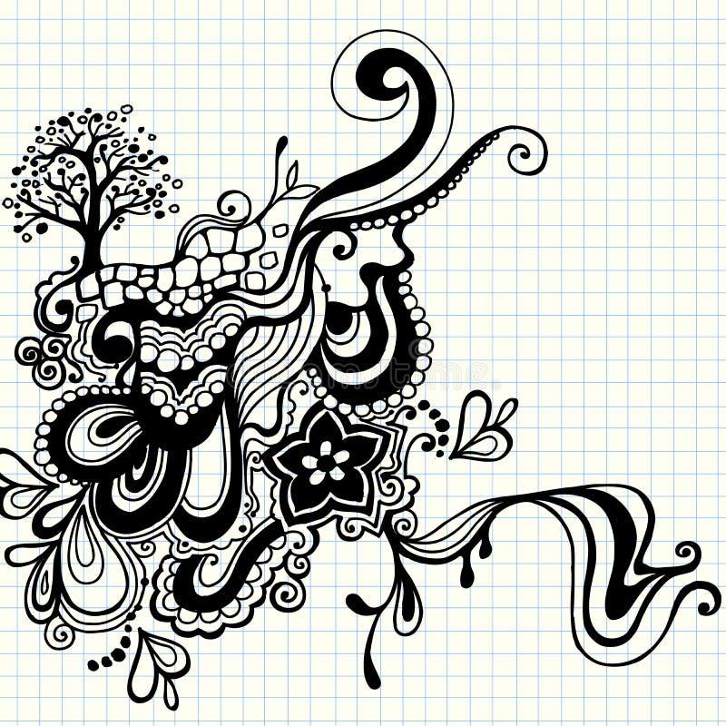 рука нарисованная doodle завихряется вектор иллюстрация вектора