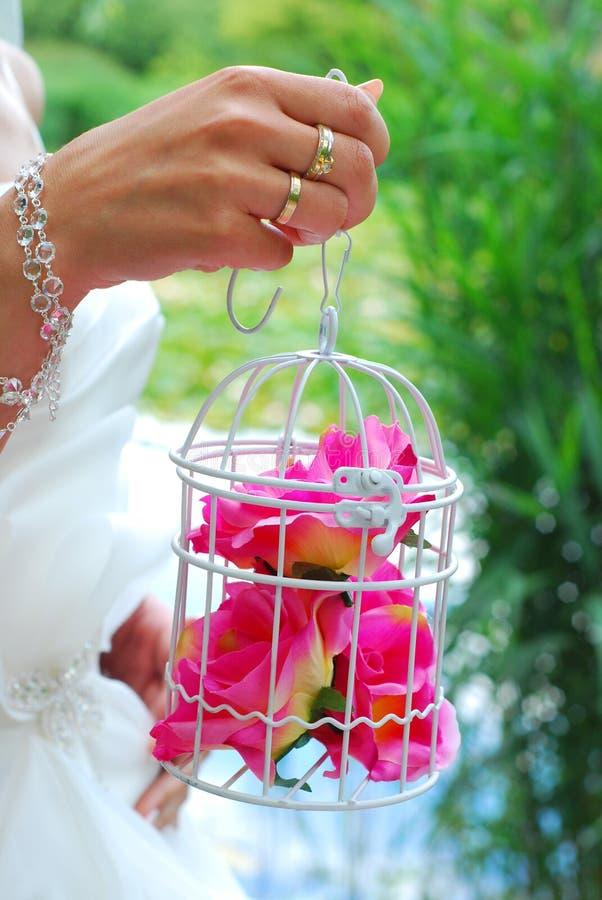 Рука невесты держа винтажную клетку с розами стоковое изображение