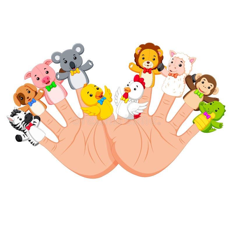 Рука нося марионетку 10 пальцев животную которое действительно смешно иллюстрация вектора