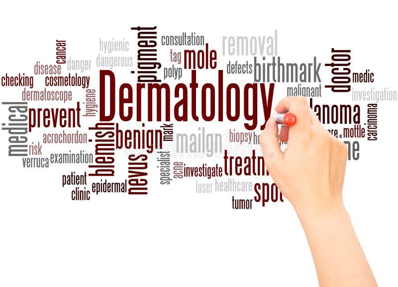 Рука облака слова дерматологии писать концепцию иллюстрация штока