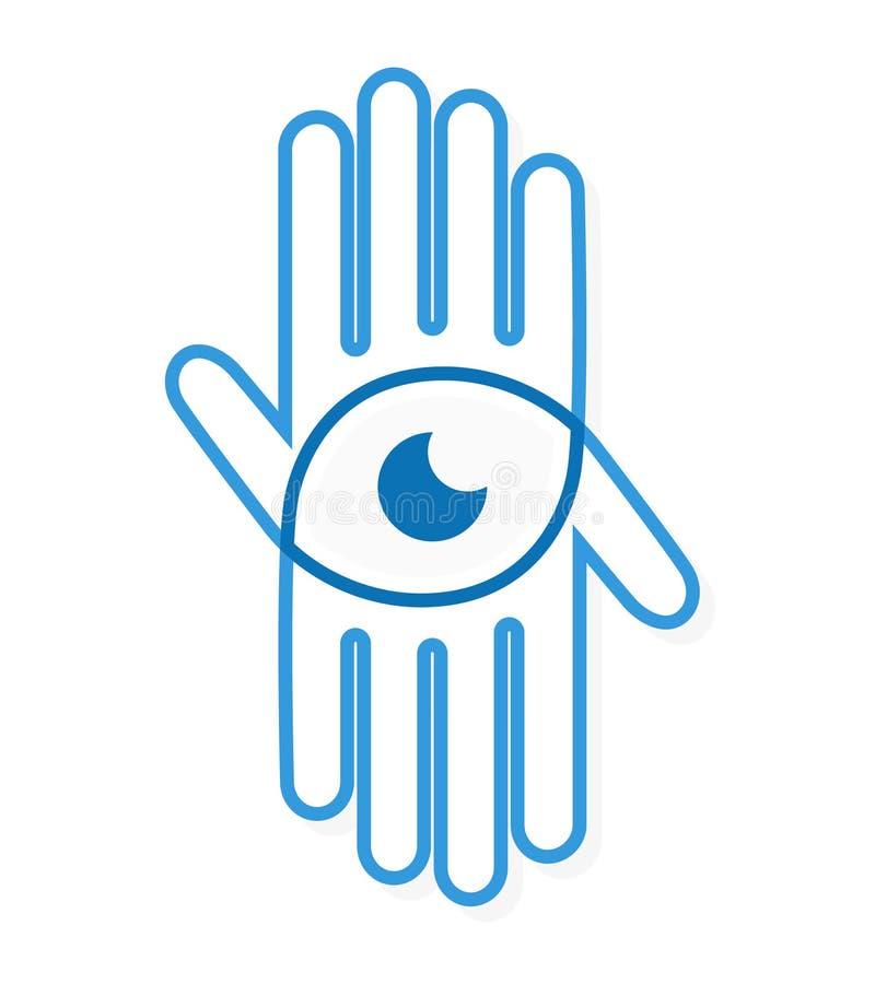 Рука логотипа вектора с глазом иллюстрация вектора