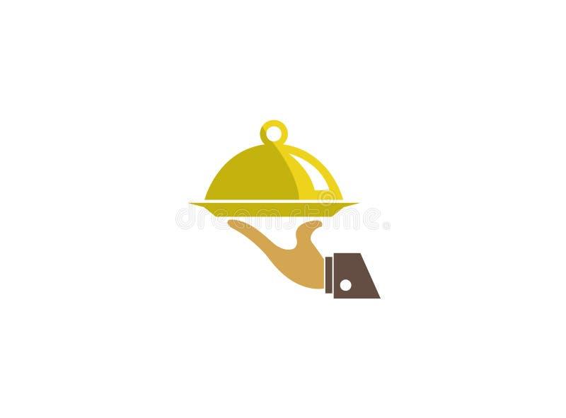Рука официанта еда блюда присутствующая, логотип Lebensmittel острословия Gericht und Bedienung иллюстрация вектора