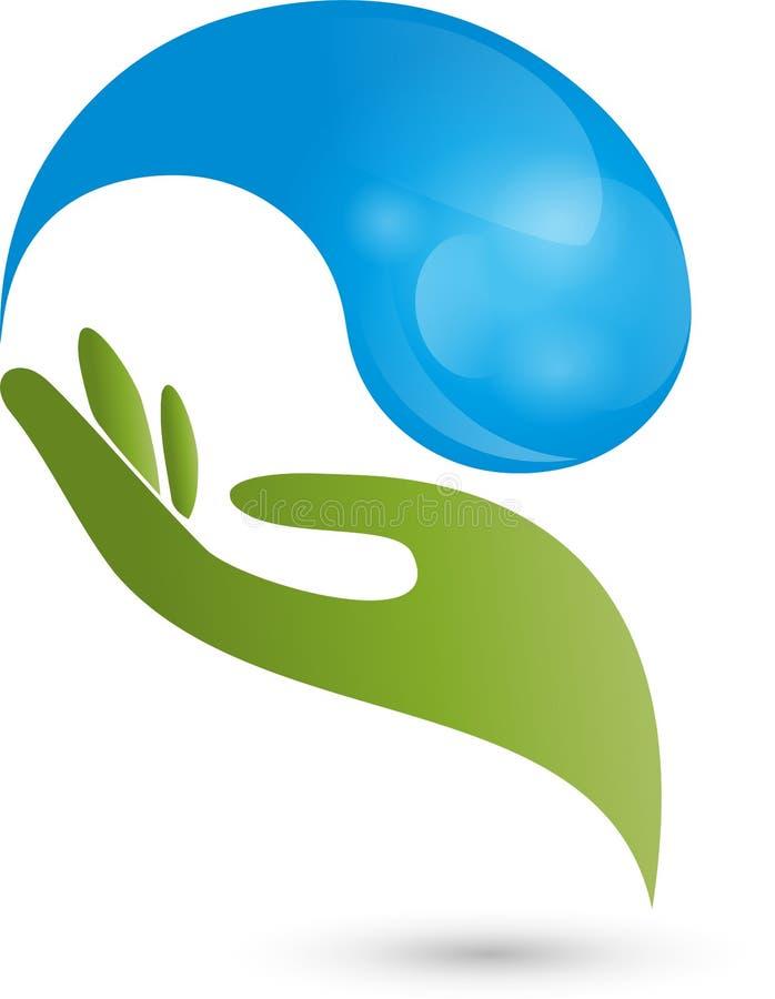 Рука, падение, вода, логотип иллюстрация штока