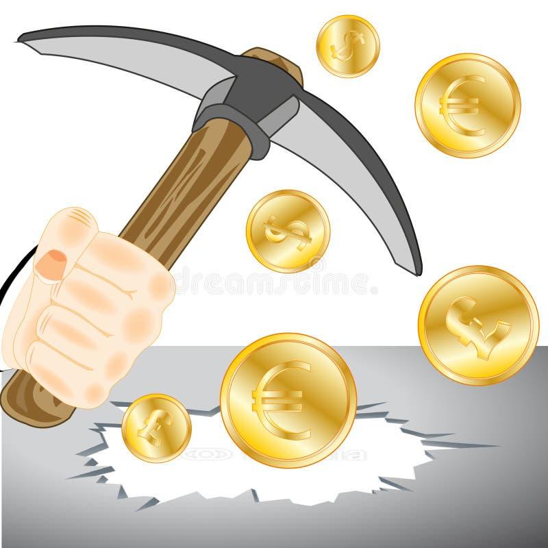 Рука персоны с обушком и бонанцы от монеток иллюстрация штока
