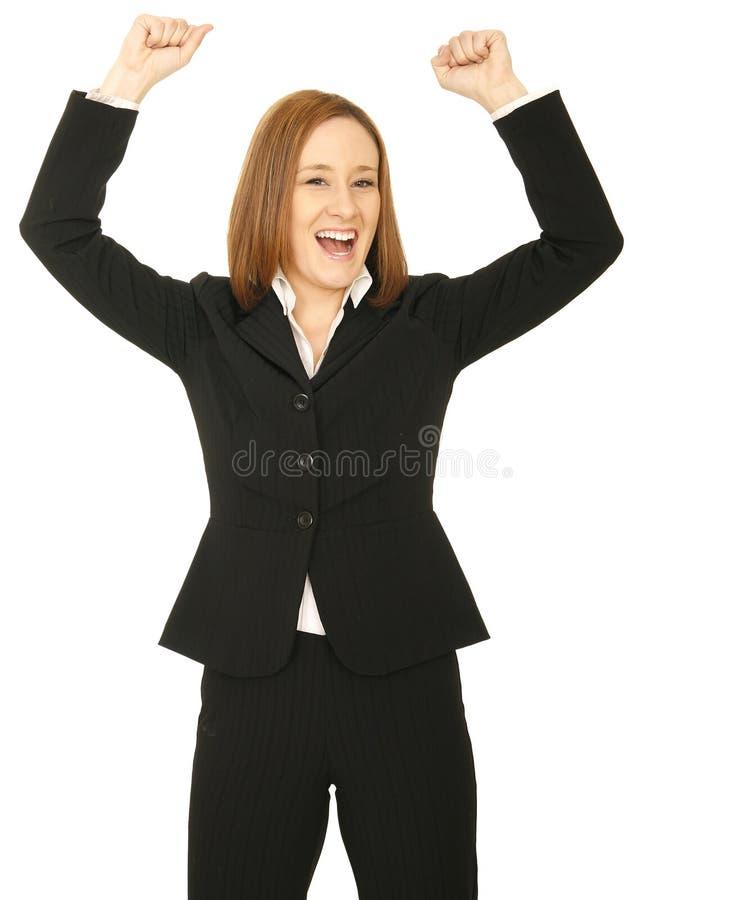 Рука повышения женщины дела стоковая фотография rf