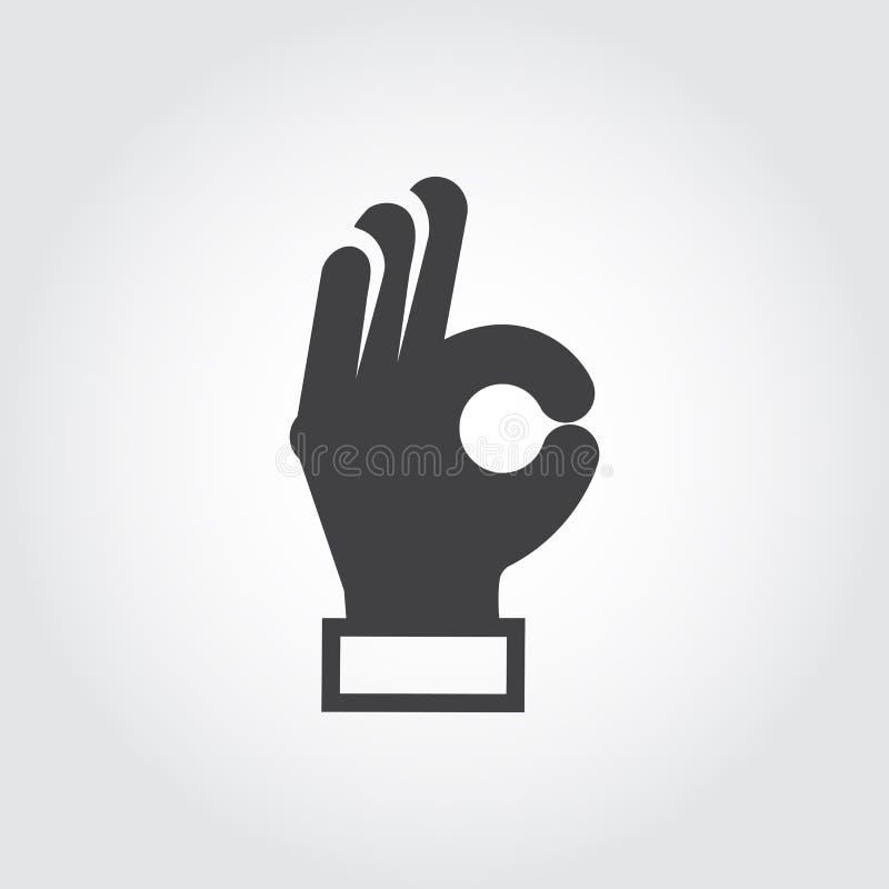 Рука показывая ОДОБРЕННЫЙ знак Рука жеста, символ языка жестов Плоский знак согласования, утверждения, эмоции позитва выражения иллюстрация штока