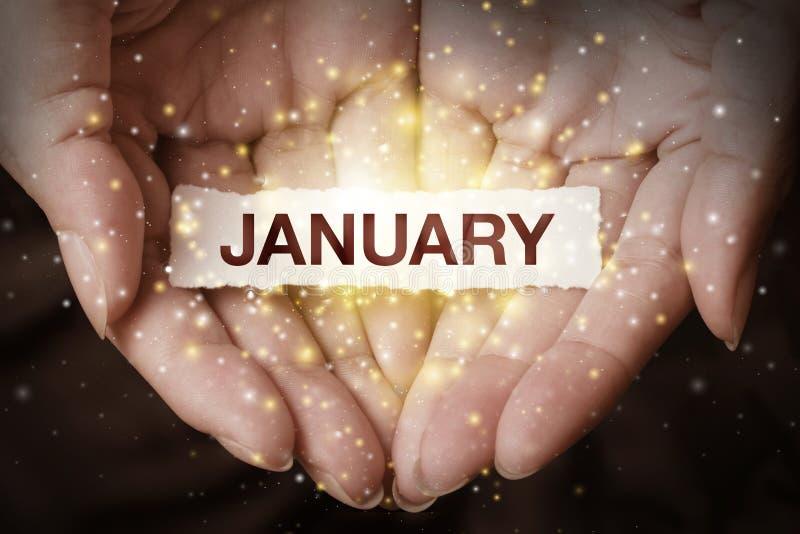 Рука показывая январь стоковые изображения