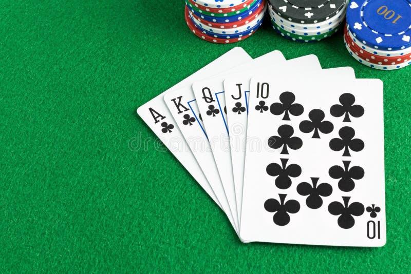 Рука покера королевского притока стоковые фотографии rf