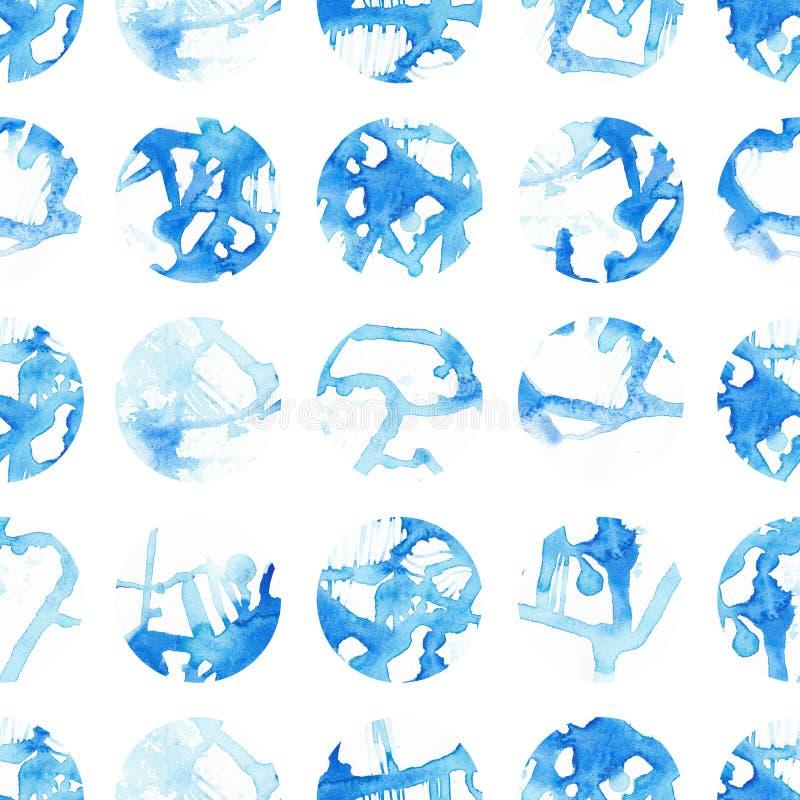 Рука покрасила безшовную картину кругов Абстрактные формы акварели bluets стоковые фото