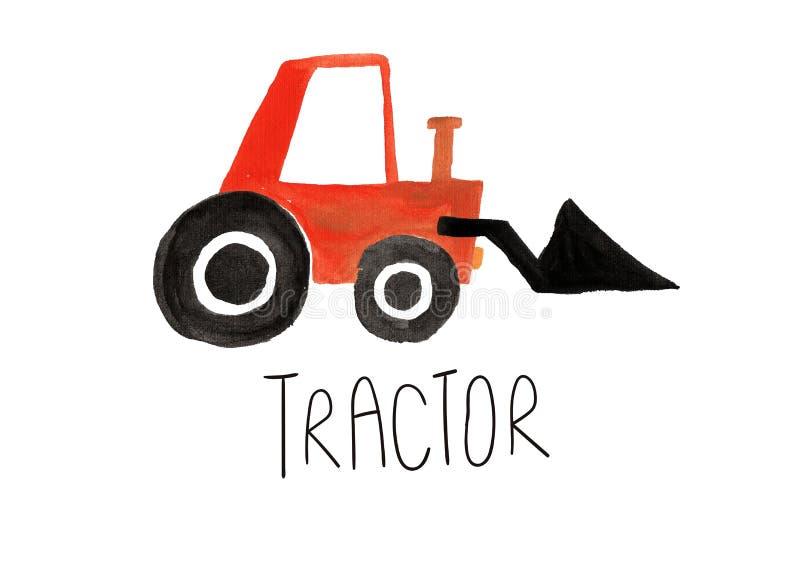 Рука покрасила изолированный трактор гуаши стоковое фото