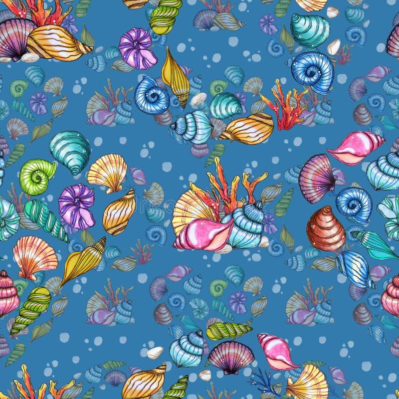 Рука покрасила картину раковин акварели безшовную изолированный на голубой предпосылке бесплатная иллюстрация