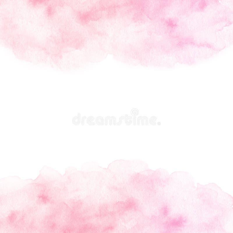 Рука покрасила розовую текстуру границы акварели изолированный на белой предпосылке иллюстрация вектора