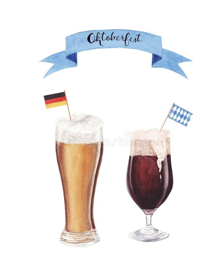 Рука покрасила стекло акварели пива с Данией и голубым и белым баварским флагом иллюстрация вектора