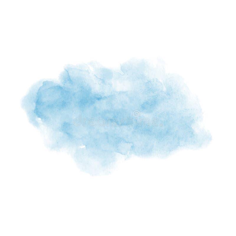 Рука покрасила текстуру голубого вектора акварели мягкую изолированный на белой предпосылке иллюстрация вектора