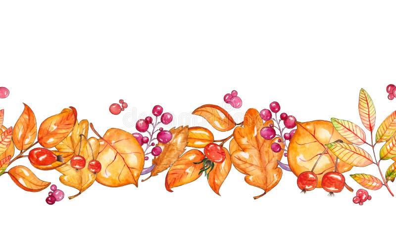 Рука покрасила шаблон акварели с желтыми листьями, ягодами иллюстрация вектора