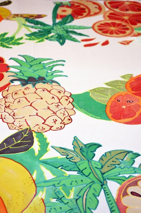 Рука покрасила шарф шелка Плоды лета сочные стоковое изображение rf