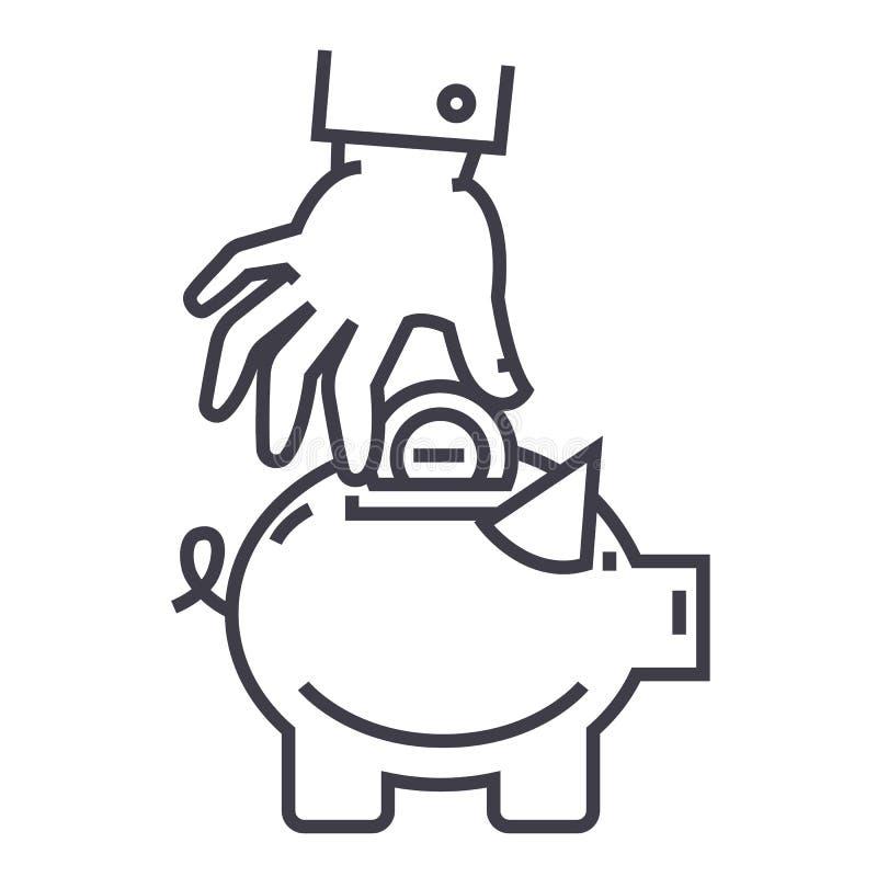 Рука положила монетку в линию значок вектора банка свиньи, знак, иллюстрацию на предпосылке, editable ходах иллюстрация штока