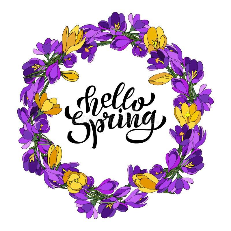 Рука помечая буквами весну здравствуйте с крокусами Иллюстрация в стиле нарисованном рукой иллюстрация вектора