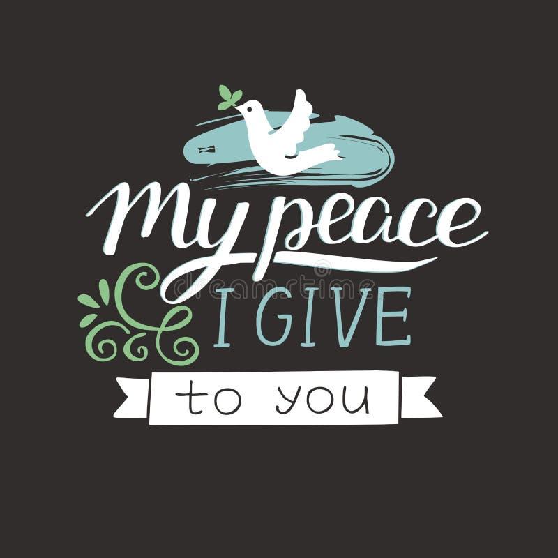 Рука помечая буквами мой мир я даю к вам с голубем бесплатная иллюстрация