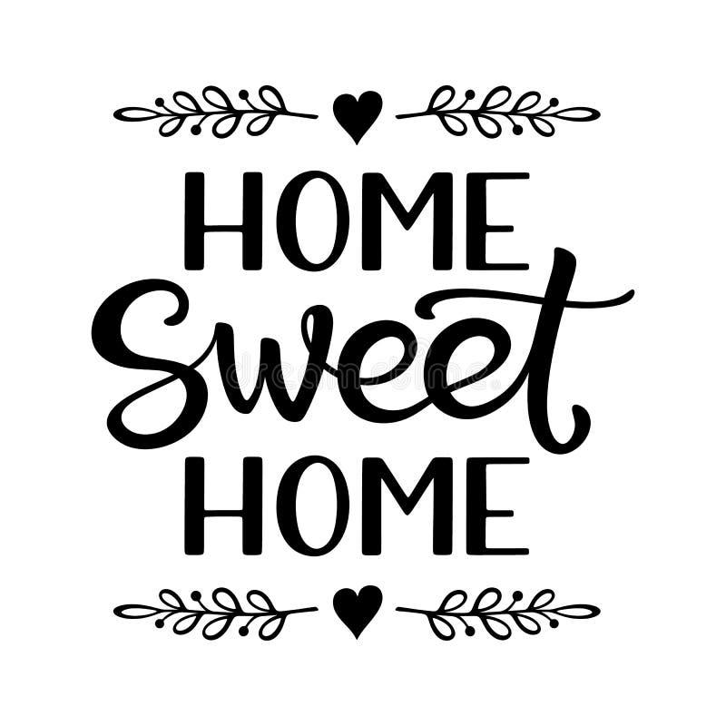 Рука помечая буквами плакат оформления с домом фразы домашним сладким бесплатная иллюстрация