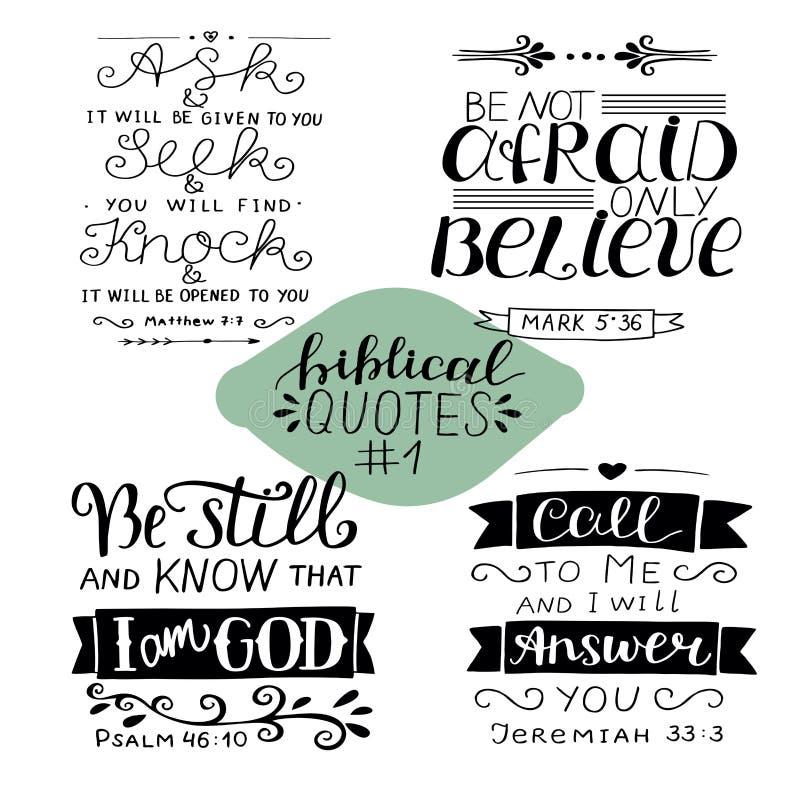 Рука помечая буквами собрание 1 с 4 стихами библии иллюстрация вектора