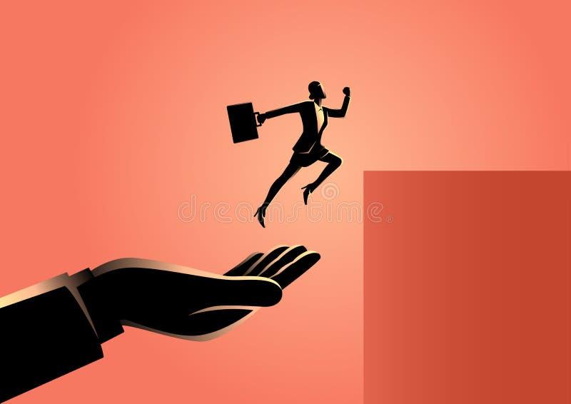 Рука помогая коммерсантке поскакать более высоко бесплатная иллюстрация