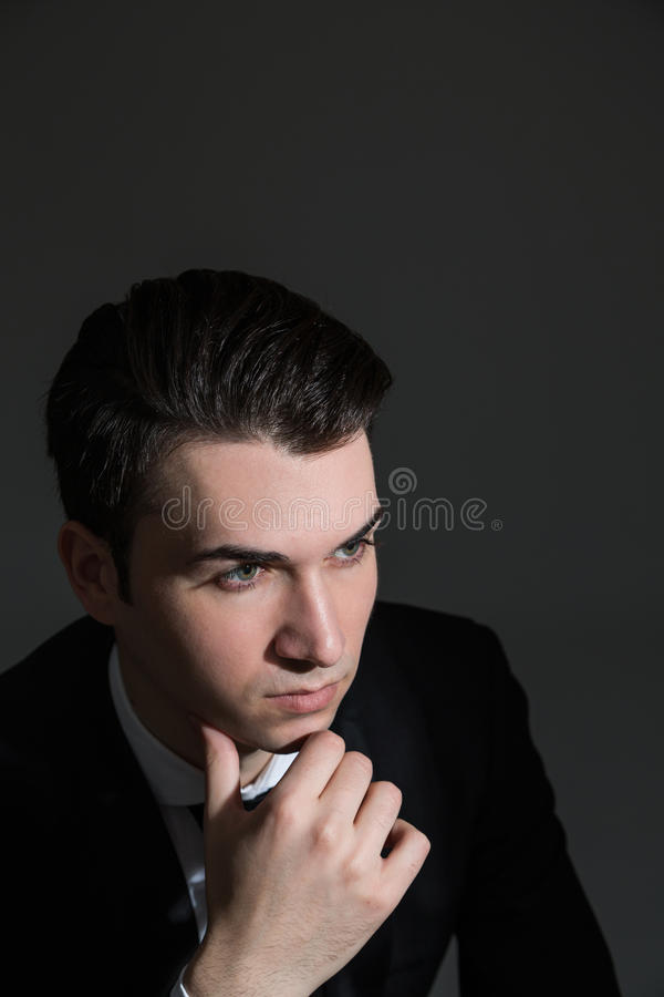 Рука портрета бизнесмена на подбородке стоковые изображения rf