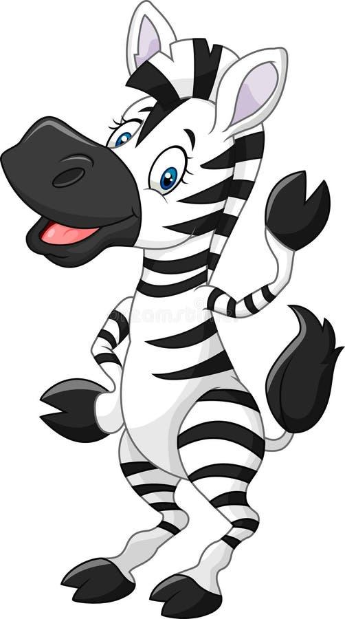Рука прелестной зебры шаржа развевая изолированная на белой предпосылке иллюстрация вектора