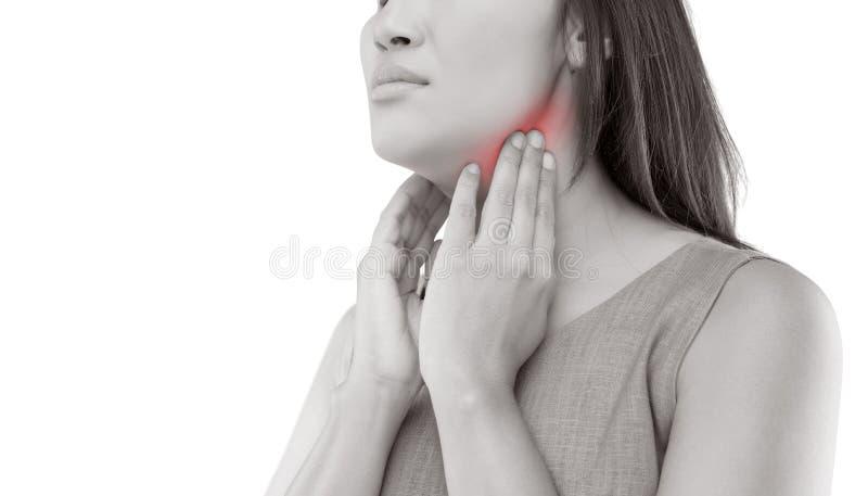 рука предпосылки изолированная над женщиной больной боли в горле места белой стоковое фото