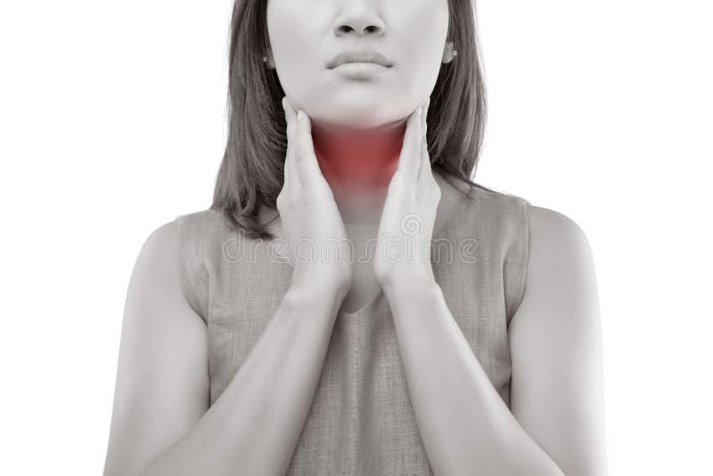 рука предпосылки изолированная над женщиной больной боли в горле места белой стоковое изображение rf